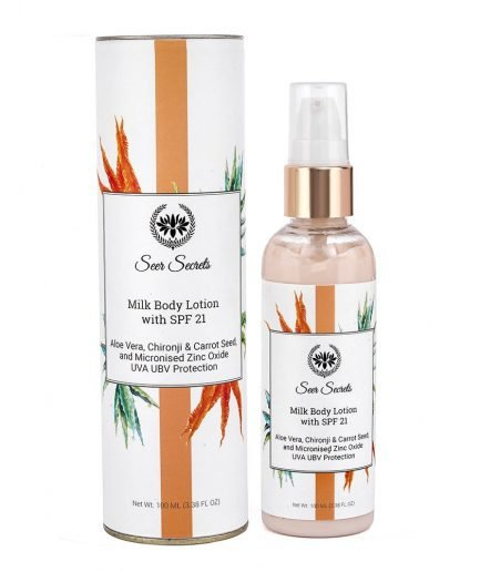 Seer Secrets Milk Body Lotion with Aloe Vera Chironji Carrot Seed