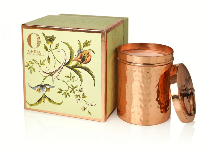 Ohria Rose & Oudh Luxury Copper Candle