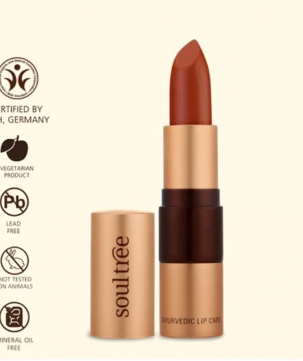 Soultree Lipstick Cantaloupe shade orange red organic makeup cosmetics