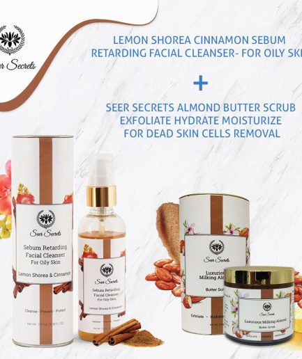 Seer Secrets Lemon Shorea Cinnamon Facial Cleanser and Milking Almond Butter Scrub COMBO