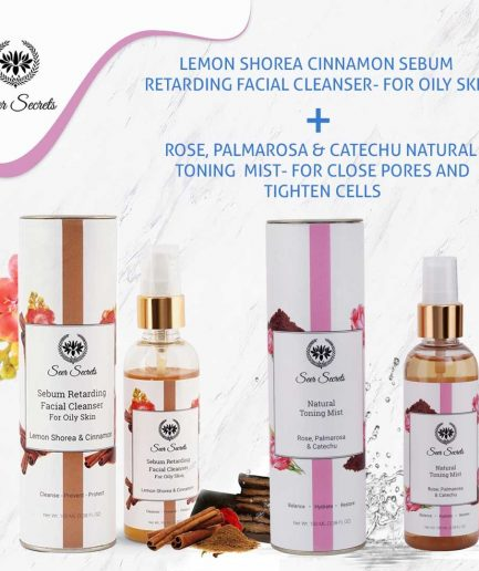 Seer Secrets FACE CARE COMBO - Lemon Shorea Cinnamon Sebum Facial Cleanser and Rose, Palmarosa & Catechu Natural Toning Mist