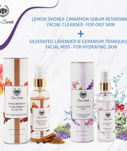 Seer Secrets FACE CARE COMBO - Lemon Shorea Cinnamon Sebum Facial Cleanser and SIlverated Lavender & Geranium Tranquility Facial Mist