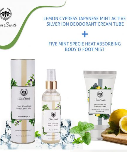 Seer Secrets BODY CARE COMBO - Lemon Cypress Japanese Mint Silver Ion Deodorant Cream and Five Mint Specie Body & Foot Mist
