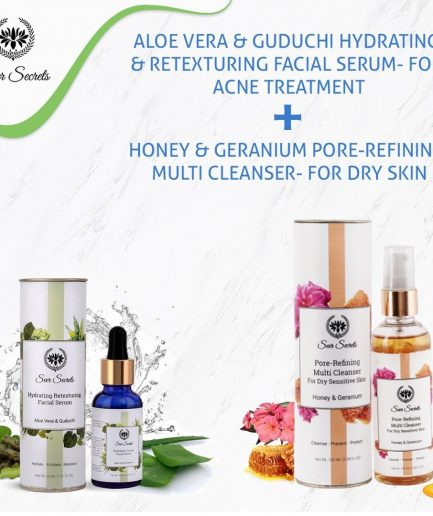Seer Secrets Aloe Vera Guduchi Facial Serum and Honey Geranium Pore Refining Multi Cleanser COMBO