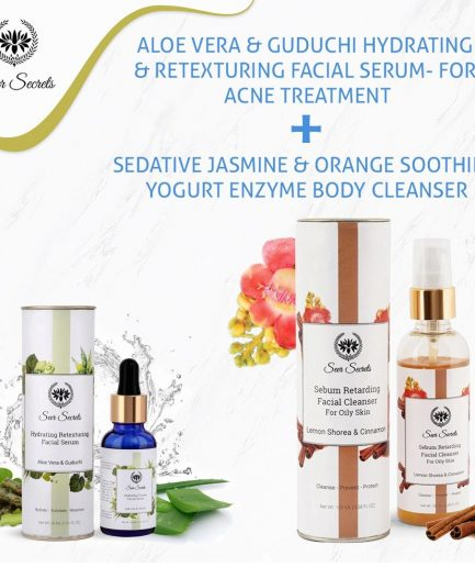 Seer Secrets ANTI ACNE COMBO - Aloe Vera Guduchi Facial Serum and Lemon Shorea Cinnamon Facial Cleanser COMBO