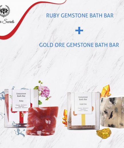 Seer Secrets GEMSTONE SOAP COMBO - Gold Ore Gemstone Bath Bar and Ruby Gemstone Bath bar
