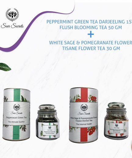 Seer Secrets TEA COMBO Peppermint Green Tea and White Sage & Pomegranate Flower Tisane Tea