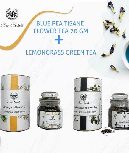 Seer Secrets TEA COMBO Blue Pea Tisane Flower Tea and Lemongrass Green Tea