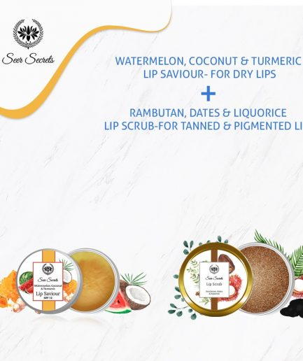 Seer Secrets LIP CARE COMBO - Watermelon, Coconut & Turmeric Lip Saviour and Rambutan, Dates & Liquorice Lip Scrub