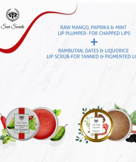 Seer Secrets LIP CARE COMBO - Raw Mango, Paprika & Mint Lip Plumper and Rambutan, Dates & Liquorice Lip Scrub